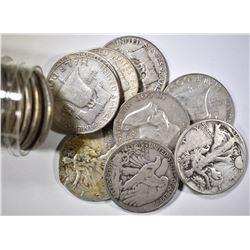 20-MIXED DATE CIRC 90% SILVER HALF DOLLARS