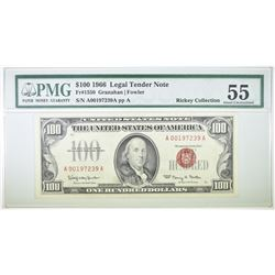 1966 $100 RED SEAL LEGAL TENDER NOTE, PMG 55
