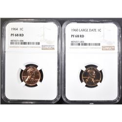 1964 & 60 LD LINCOLN CENTS, NGC PF-68 RED