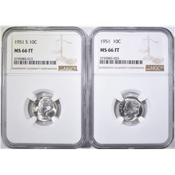 1951-P&S ROOSEVELT DIMES, NGC MS-66 FT