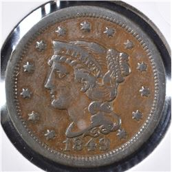 1849 LARGE CENT, VF