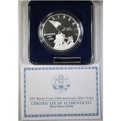 2005 MARINE CORPS ANNIV PROOF SILVER DOLLAR