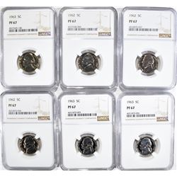 3 - 1962, 3 - 1963 JEFFERSON NICKELS NGC