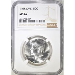 1965 SMS KENNEDY HALF DOLLAR, NGC MS-67