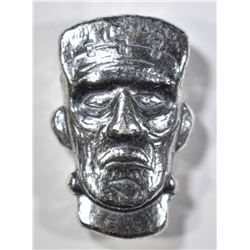 1.5 Oz .999 SILVER HAND POURED FRANKENSTEIN HEAD