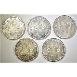 5- 1963 BU CANADIAN SILVER DOLLARS
