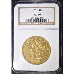 1851 $20 GOLD LIBERTY NGC AU-50