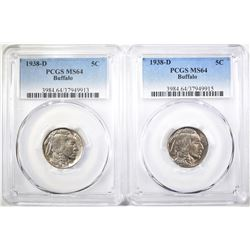 2-1938-D BUFFALO NICKELS, PCGS MS-64