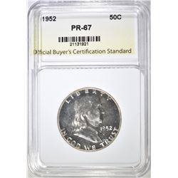 1952 FRANKLIN HALF, OBCS SUPERB GEM PROOF