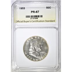 1953 FRANKLIN HALF DOLLAR, OBCS SUPERB GEM PROOF