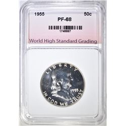1955 FRANKLIN HALF DOLLAR, WHSG SUPERB GEM PR+