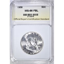 1958 FRANKLIN HALF DOLLAR, OBCS SUPERB GEM BU FBL