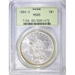 1884-O MORGAN DOLLAR PCGS MS-65 OGH