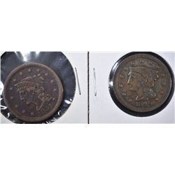 1849 VF & 51 VF LARGE CENTS