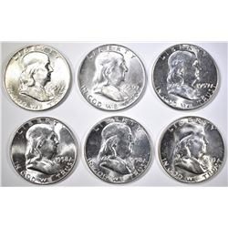 6-BU FRANKLIN HALF DOLLARS