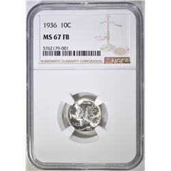 1936 MERCURY DIME, NGC MS-67 FB VERY NICE