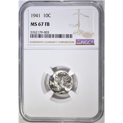 1941 MERCURY DIME, NGC MS-67 FB