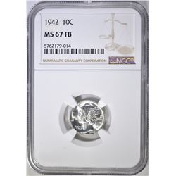 1942 MERCURY DIME, NGC MS-67 FB
