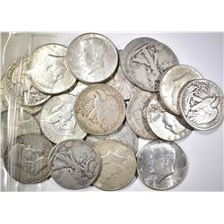 $10.00 FACE VALUE 90% MIXED SILVER HALVES