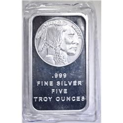 FIVE OUNCE .999 SILVER BAR INDIAN/BUFFALO