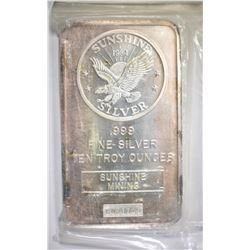 TEN OUNCE .999 SILVER BAR SUNSHINE MINT