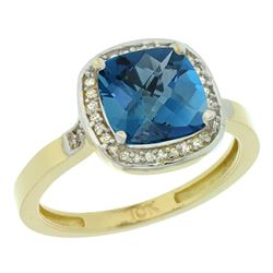 Natural 3.94 ctw London-blue-topaz & Diamond Engagement Ring 10K Yellow Gold - REF-30G2M