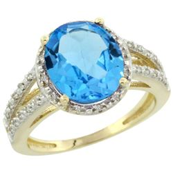 Natural 3.47 ctw Swiss-blue-topaz & Diamond Engagement Ring 14K Yellow Gold - REF-46K3R