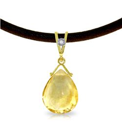 Genuine 6.51 ctw Citrine & Diamond Necklace Jewelry 14KT Yellow Gold - REF-26P9H