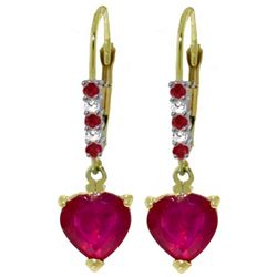 Genuine 2.98 ctw Ruby & Diamond Earrings Jewelry 14KT Yellow Gold - REF-46N7R