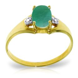 Genuine 1.26 ctw Emerald & Diamond Ring Jewelry 14KT Yellow Gold - REF-26W2Y