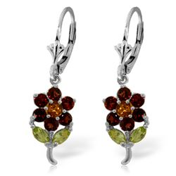 Genuine 2.12 ctw Multi-gemstones Earrings Jewelry 14KT White Gold - REF-42Z4N