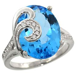 Natural 11.18 ctw swiss-blue-topaz & Diamond Engagement Ring 14K White Gold - REF-82W2K