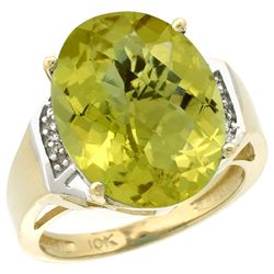 Natural 11.02 ctw Lemon-quartz & Diamond Engagement Ring 14K Yellow Gold - REF-60R3Z