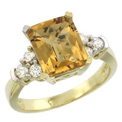 Natural 2.86 ctw whisky-quartz & Diamond Engagement Ring 14K Yellow Gold - REF-64M7H