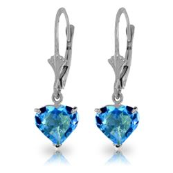 Genuine 3.25 ctw Blue Topaz Earrings Jewelry 14KT White Gold - REF-29Z2N