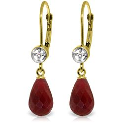 Genuine 6.63 ctw Ruby & Diamond Earrings Jewelry 14KT Yellow Gold - REF-29T7A