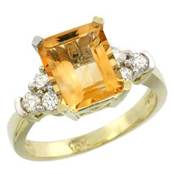 Natural 2.86 ctw citrine & Diamond Engagement Ring 14K Yellow Gold - REF-65A2V