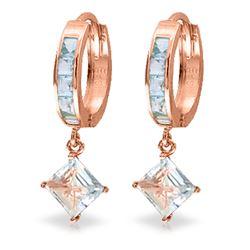 Genuine 4 ctw Aquamarine Earrings Jewelry 14KT Rose Gold - REF-62Y6F