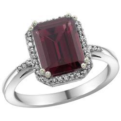 Natural 2.63 ctw Rhodolite & Diamond Engagement Ring 14K White Gold - REF-42A8V