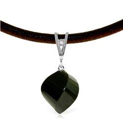 Genuine 15.51 ctw Black Spinel & Diamond Necklace Jewelry 14KT White Gold - REF-39Z2N