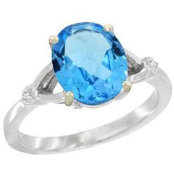 Natural 2.41 ctw Swiss-blue-topaz & Diamond Engagement Ring 14K White Gold - REF-33A8V