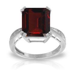 Genuine 7.52 ctw Garnet & Diamond Ring Jewelry 14KT White Gold - REF-91V3W
