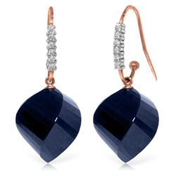 Genuine 30.68 ctw Sapphire & Diamond Earrings Jewelry 14KT Rose Gold - REF-67P3H