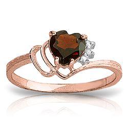 Genuine 0.97 ctw Garnet & Diamond Ring Jewelry 14KT Rose Gold - REF-29A7K