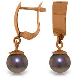 Genuine 4 ctw Black Pearl Earrings Jewelry 14KT Rose Gold - REF-21V2W