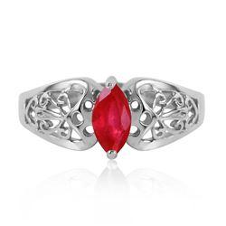 Genuine 0.20 CTW Ruby Ring Jewelry 14KT White Gold - REF-48F4Z
