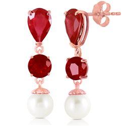 Genuine 10.10 ctw Ruby & Pearl Earrings Jewelry 14KT Rose Gold - REF-55F3Z