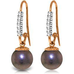 Genuine 8.18 ctw Pearl & Diamond Earrings Jewelry 14KT Rose Gold - REF-37W6Y