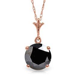 Genuine 1.0 ctw Black Diamond Necklace Jewelry 14KT Rose Gold - REF-72Z7N