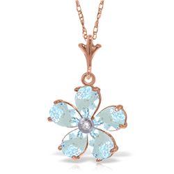 Genuine 2.22 ctw Aquamarine & Diamond Necklace Jewelry 14KT Rose Gold - REF-36H3X